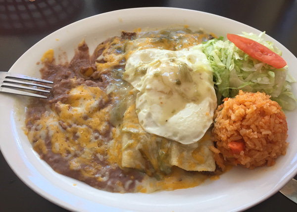 The first Enchilada, Green Chili with an egg on top
